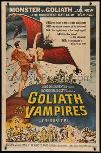 4p0079 GOLIATH & THE VAMPIRES signed 1sh 1964 by Gordon Scott, great Reynold Brown monster art!