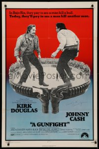 4p0080 GUNFIGHT signed 1sh 1971 by director Lamont Johnson, great image of Kirk Douglas & Johnny Cash!