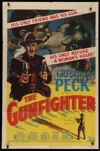 4p0081 GUNFIGHTER signed 1sh 1950 by director Henry King, Gregory Peck's only friends were his guns!