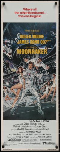 4p0025 MOONRAKER signed insert 1979 by Richard Kiel, Goozee art of Roger Moore as James Bond!