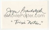 4p0458 JOYCE RANDOLPH signed 3x5 index card 1980s it can be framed & displayed with a repro!
