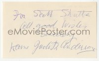 4p0459 JUDITH ANDERSON signed 3x5 index card 1980s it can be framed & displayed with a repro still!