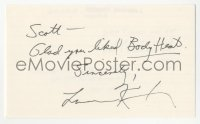 4p0461 LAWRENCE KASDAN signed 3x5 index card 1980s it can be framed & displayed with a repro still!