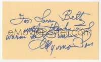 4p0468 MYRNA LOY signed 3x5 index card 1980s it can be framed & displayed with a repro still!