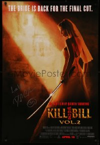 4p0002 KILL BILL: VOL. 2 signed advance DS 1sh 2004 by David Carradine, bride Uma Thurman, Tarantino!