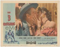 4p0146 3 OUTLAWS signed LC #6 1956 by Jeanne Carmen, who's close up kissing Neville Brand!