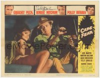 4p0154 CAPE FEAR signed LC #1 1962 by Robert Mitchum, in car w/sexy Barrie Chase, classic film noir!