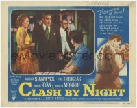 4p0155 CLASH BY NIGHT signed LC #4 1952 by Fritz Lang, c/u of Barbara Stanwyck & Paul Douglas!