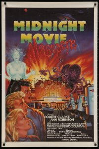 4p0013 MIDNIGHT MOVIE MASSACRE signed 1sh 1988 by Ann Robinson, sci-fi monster art by Joel Andrews!
