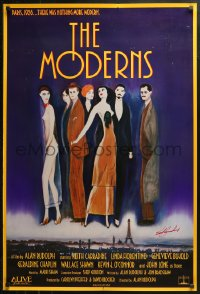 4p0014 MODERNS signed 1sh 1988 by star/artist Keith Carradine, cool artwork of trendy 1920s people!