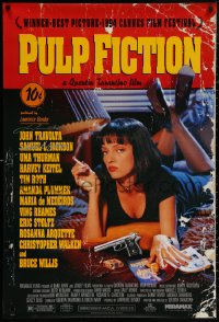 4p0018 PULP FICTION signed 1sh 1994 by BOTH John Travolta AND Samuel L. Jackson, Tarantino directed!