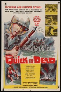 4p0112 QUICK & THE DEAD signed 1sh 1963 by Victor French, art of soldiers storming beachfront!