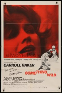 4p0122 SOMETHING WILD signed 1sh 1962 by Carroll Baker, super close up of the leading lady!