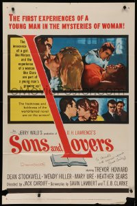 4p0125 SONS & LOVERS signed 1sh 1960 by director Jack Cardiff, from D.H. Lawrence's novel!