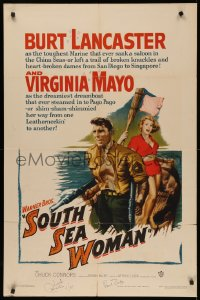 4p0126 SOUTH SEA WOMAN signed 1sh 1953 by BOTH Chuck Connors AND Paul Burke, art of Lancaster & Mayo!