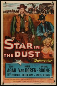 4p0127 STAR IN THE DUST signed 1sh 1956 by director Charles Haas, story of the most desperate gamble!