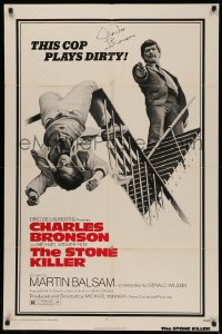 4p0130 STONE KILLER signed 1sh 1973 by Charles Bronson, as a cop who plays dirty, Michael Winner!