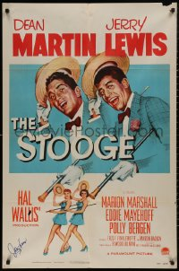 4p0131 STOOGE signed 1sh 1952 by Jerry Lewis, he's singing in vaudeville with Dean Martin!
