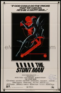 4p0132 STUNT MAN signed 1sh 1980 by director Richard Rush, cool art of demon working movie camera!