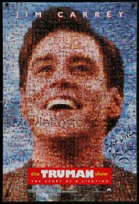 4p0024 TRUMAN SHOW signed teaser DS 1sh 1998 by director Peter Weir, cool mosaic art of Jim Carrey!