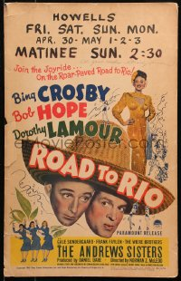 4p0034 ROAD TO RIO signed WC 1948 by Dorothy Lamour, great image with Bing Crosby & Bob Hope!
