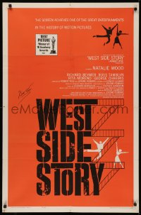 4p0137 WEST SIDE STORY signed 1sh R1963 by Robert Wise, his Academy Award winning classic musical!