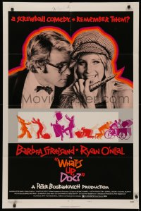 4p0138 WHAT'S UP DOC signed style B 1sh 1972 by director Peter Bogdanovich, c/u Streisand & O'Neal!