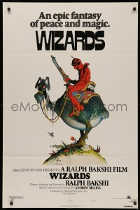 4p0141 WIZARDS signed 1sh 1977 by poster artist William Stout, cool Ralph Bakshi sci-fi animation!
