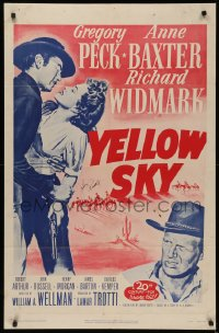 4p0143 YELLOW SKY signed 1sh R1952 by John Russell, art of Gregory Peck, Anne Baxter & Widmark!