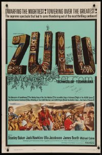 4p0144 ZULU signed 1sh 1964 by James Booth, great title art, dwarfing the mightiest!