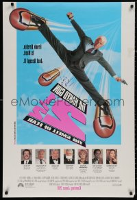 4p0016 NAKED GUN 2 1/2 signed advance DS 1sh 1991 by Leslie Nielsen, who signed on the back!