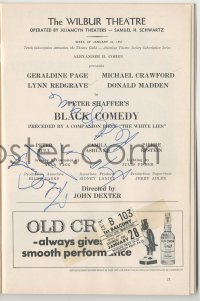 4p0289 BLACK COMEDY/WHITE LIES signed playbill 1967 by BOTH Michael Crawford AND Lynn Redgrave!