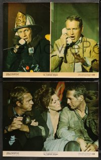 4r0334 TOWERING INFERNO 8 color 11x14 stills 1974 Fire Chief Steve McQueen & Newman, fire fighting!