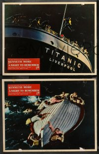 4r0394 NIGHT TO REMEMBER 7 English LCs 1959 English Titanic biography, sinking ship images!