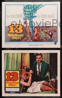 4r0018 13 FRIGHTENED GIRLS 8 LCs 1963 Hugh Marlowe, girls in peril, directed by William Castle!