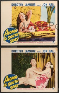 4r0027 ALOMA OF THE SOUTH SEAS 8 LCs 1941 wonderful images of Dorothy Lamour in sarong, Jon Hall