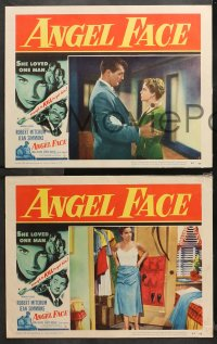 4r0370 ANGEL FACE 7 LCs 1953 Robert Mitchum, pretty Jean Simmons, Otto Preminger, Howard Hughes
