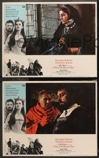 4r0030 ANNE OF THE THOUSAND DAYS 8 LCs 1970 cool images of King Richard Burton & Genevieve Bujold!