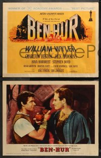 4r0036 BEN-HUR 8 LCs 1960 Charlton Heston, William Wyler classic epic, chariot race, Smith tc art!