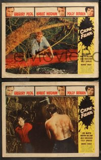 4r0373 CAPE FEAR 7 LCs 1962 Gregory Peck, Robert Mitchum, Polly Bergen, classic film noir!