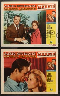 4r0387 MARNIE 7 LCs 1964 Alfred Hitchcock, cool images of Sean Connery and Tippi Hedren!