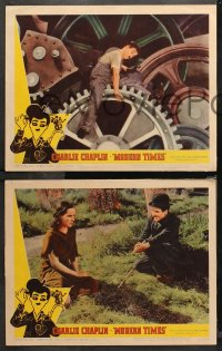 4r0392 MODERN TIMES 7 LCs R1959 classic images of Charlie Chaplin, Paulette Goddard, gears!