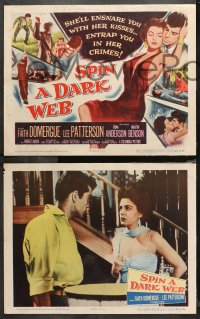 4r0300 SPIN A DARK WEB 8 LCs 1956 sexy Faith Domergue, Lee Patterson, English film noir!