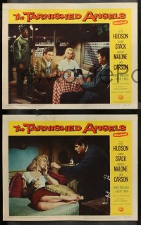 4r0400 TARNISHED ANGELS 7 LCs 1958 close portraits of Rock Hudson, Robert Stack, & Dorothy Malone!