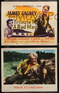 4r0337 TRIBUTE TO A BAD MAN 8 LCs 1956 cowboy James Cagney, pretty Irene Papas, Vic Morrow!