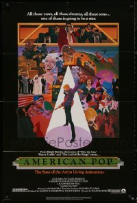 4x0227 LOT OF 17 FOLDED AMERICAN POP ONE-SHEETS 1981 cool art by Wilson McLean & Ralph Bakshi!