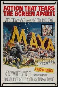 4x0238 LOT OF 9 FOLDED MAYA ONE-SHEETS 1966 Clint Walker, action that tears the screen apart!