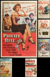 4x0239 LOT OF 7 FOLDED TRIMMED 26X40 ONE-SHEETS 1940s-1960s great images from a variety of movies!