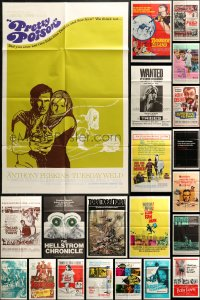 4x0218 LOT OF 24 FOLDED ONE-SHEETS 1950s-1970s great images from a variety of different movies!