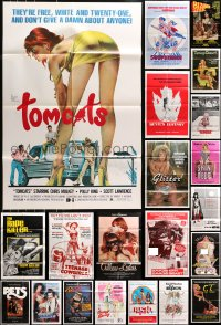 4x0191 LOT OF 54 FOLDED SEXPLOITATION ONE-SHEETS 1970s-1980s sexy images with some nudity!